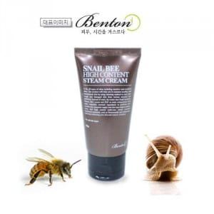 Крем для лица с пчелинным ядом с экстрактом слизи улитки BENTON Snail Bee High Content Steam Cream 50g