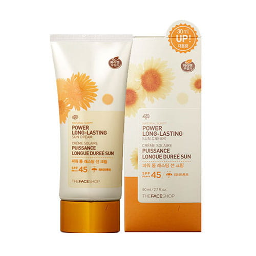 Солнцезащитная бежевая база под макияж The Face Shop Natural eco power long lasting sun SPF45 PA+++ 80ml
