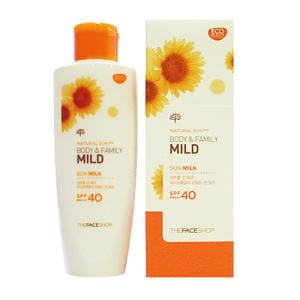 Солнцезащитное молочко  для всей семьи The Face Shop Natural Sun Eco Body & Family Mild Sun Milk SPF40 PA+++ 120ml
