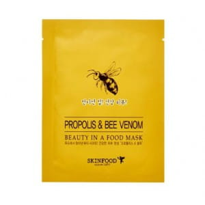 Листовая маска с прополисом и пчелиным ядом Skinfood Beauty in a food mask sheet, PROPOLIS & BEE VENOM