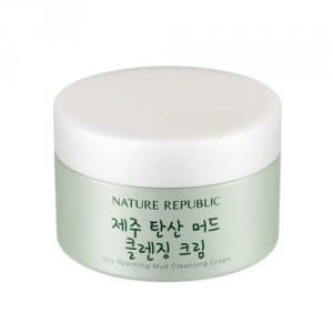 Очищающий крем для лица с газированной водой Nature Republic Jeju sparkling mud cleansing cream 215 ml.