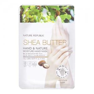 Увлажняющая маска для рук с маслом ши Nature Republic Shea Butter Hand & Nature Moisture Hand Mask 12g*2