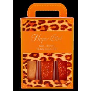 HOPEGIRL Nail Travel Bling Bling Set [4g*3ea] (Option 06.Orange Marmalade)