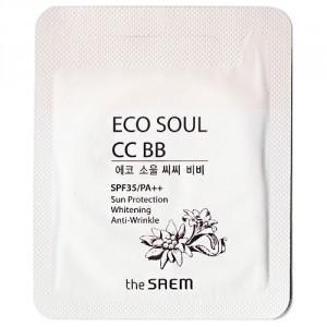 Солнцезащитный тональный сс\вв крем The Saem Eco soul cc bb spf35/pa++ 1ml*10ea