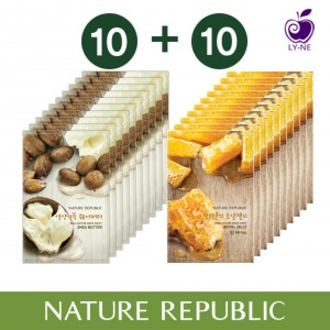 Листовая маска для лица с маслом ши и маточным молочком Nature Republic Real nature mask sheet shea butter 10ea+royal jelly 10ea