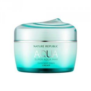 Легкий крем для увлажнения комбинированной кожи Nature Republic Super aqua max combination watery cream 80ml (green)