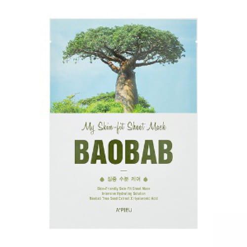 Листовая одноразовая маска для сухой кожи лица с экстрактом баобаба APieu my skin - fit sheet mask - baobab 25g