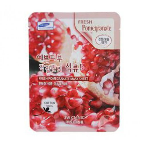 Тканевая листовая маска с экстрактом граната 3w Clinic Fresh mask sheet [pomegranate] x10sheet
