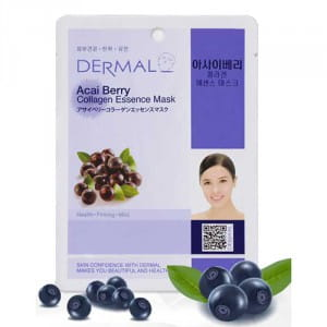 Листовая маска с ягодами асаи и коллагеном Dermal Acai berry collagen essence mask 23g