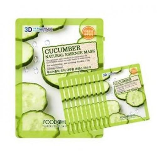 Листовые маски для лица с огурцом Food A Holic 3D Natural essence mask [cucumber] x10EA