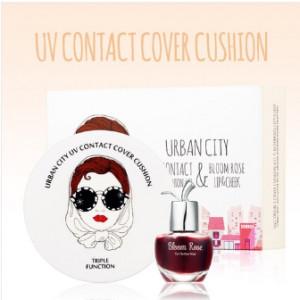 URBAN CITY UV Contact Cover Cushion SET (Bloom Rose Lip&Cheek free tint) #21