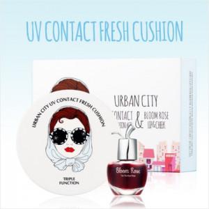 URBAN CITY UV Contact Fresh Cushion SET (Bloom Rose Lip&Cheek free tint) #21
