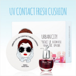 URBAN CITY UV Contact Fresh Cushion SET (Bloom Rose Lip&Cheek free tint) #23