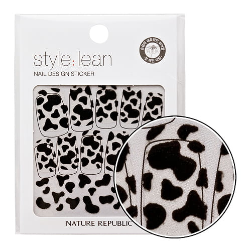 Стикеры для ногтей NATURE REPUBLIC Style Lean Nail Design Sticker #06 Black Cow 10strips