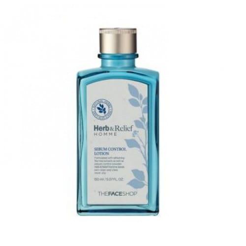 Мужской лосьон для кожи лица The face shop Herb & Relief Homme sebum control Lotion 150 ml.