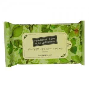 Салфетки для снятия макияжа с губ и глаз The Face Shop Herb Day Lip & Eye Makeup Remover Tissue  30sheets