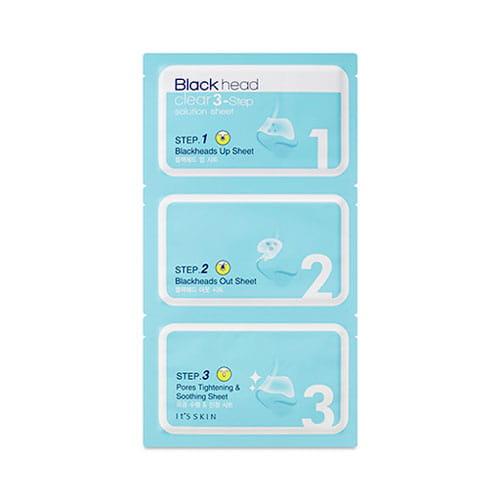Полоски для очищения кожи носа  It's Skin Black Head Clear 3-Step Solution Sheet 3p