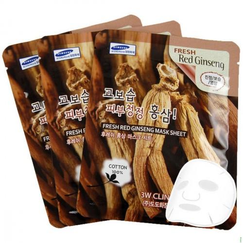 Комплект листовых масок с  красным женьшенем 3w Clinic fresh mask sheet [red ginseng] X10sheet