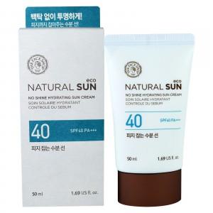 Солнцезащитный крем с эффектом сияния The Face Shop Natural sun eco no shine hydrating sun cream SPF 40 PA+++ 50ml