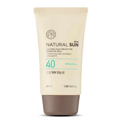 Увлажняющий солнцезащитный крем для чувствительной кожи The Face Shop Natural sun eco calming sun cream for sensitive skin 50ml spf40 pa+++