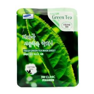 Комплект листовых масок с зеленым чаем 3w Clinic Fresh mask sheet [green tea] x10sheet