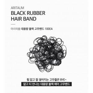 Комплект из 100 черных резинок для волос Aritaum Black rubber hair band 100ea