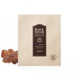 Листовая маска для лица с черным сахаром Skinfood Black sugar perfect fit mask sheet the essential 22ml