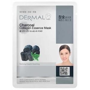 Противовоспалительная маска с коллагеном и углем Dermal Charcoal collagen essence mask 23g